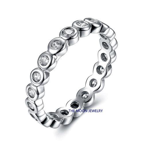 925純銀鍍18K白金高級仿鑽包邊混身戒指