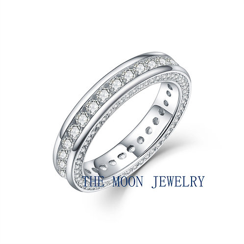 925純銀鍍18K白金高級仿鑽混身戒指