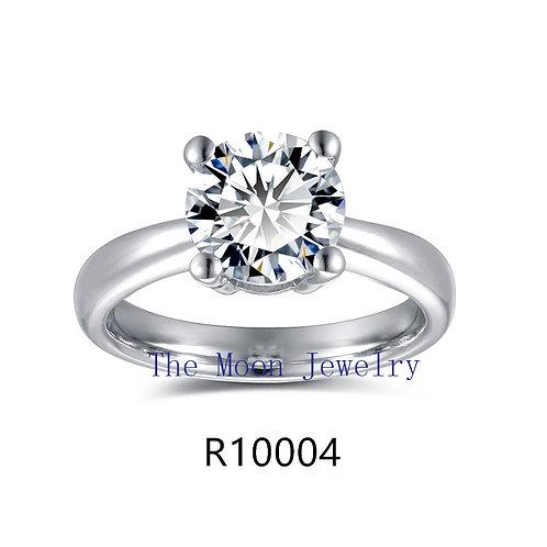 925純銀鍍18K白金高級仿鑽4爪戒指