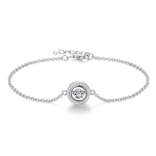 925純銀鍍18K白金高級仿鑽DANCING DIAMOND系列手鏈