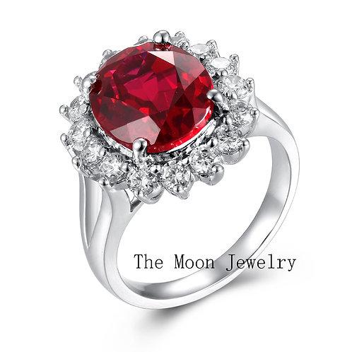 925純銀鍍18K白金高級仿鑽紅寶石戒指