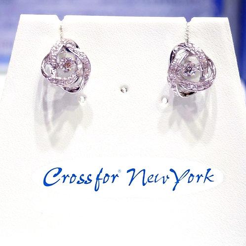日本Crossfor - 鑽石莫比烏斯帶閃動耳環