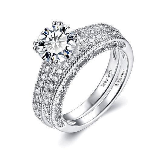 925純銀鍍18K白金高級仿鑽合拼戒指