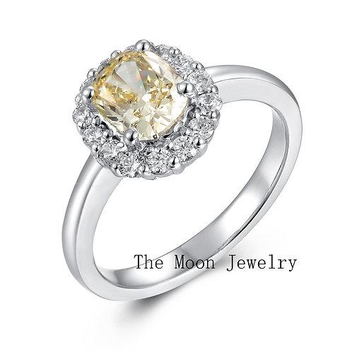 925純銀鍍18K白金高級仿鑽黃鑽圍鑽款戒指