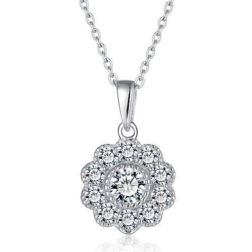 925純銀鍍白金高級仿鑽英式珠邊吊咀
