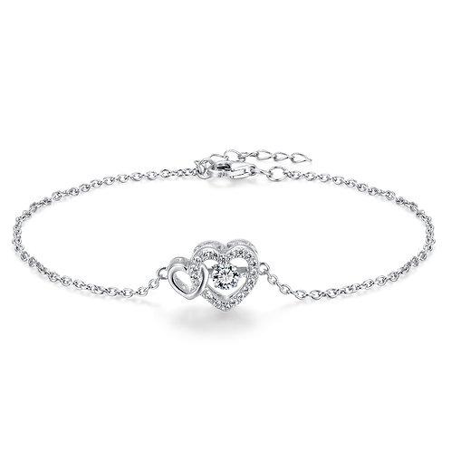 925純銀鍍18K白金高級仿鑽DANCING DIAMOND系列心形手鏈