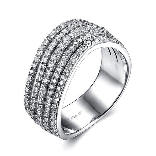 925純銀鍍18K白金高級仿鑽碎鑽戒指