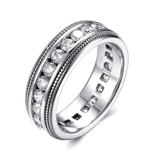 925純銀鍍18K金高級仿鑽混身戒指