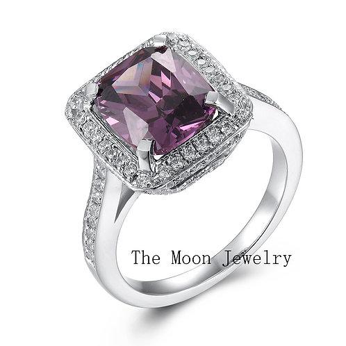 925純銀鍍18K白金高級仿鑽紫水晶圍鑽戒指