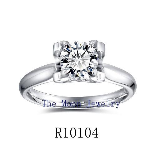 925純銀鍍18K白金高級仿鑽方形爪戒指