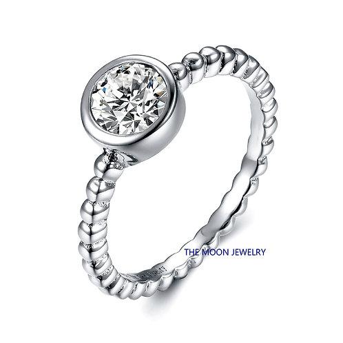 925純銀仿鑽包邊戒指