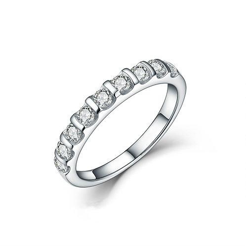 925純銀鍍18K金高級仿鑽半混身戒指