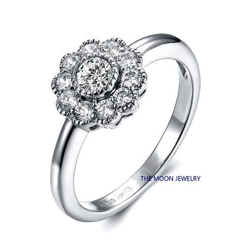 925純銀古典系列高級仿鑽九圍一戒指