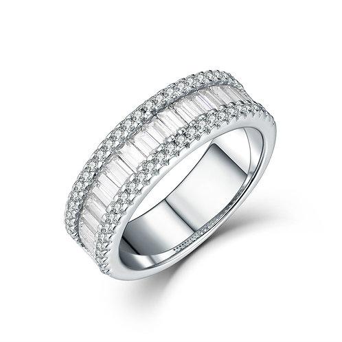 925純銀鍍18K白金高級仿鑽戒指梯方戒指