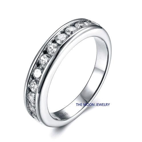 925純銀鍍18K白金高級仿鑽半身戒指
