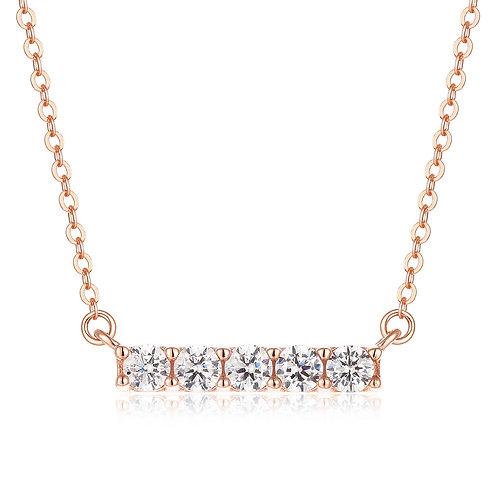 純銀玫瑰金高級仿鑽頸鏈