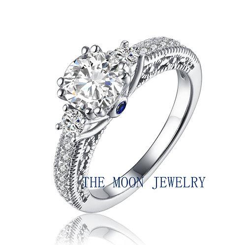925純銀18K白金電鍍高級仿鑽通花戒指