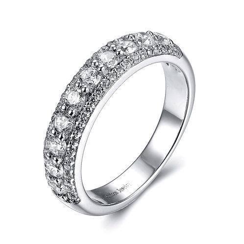 925純銀鍍18K金高級仿鑽戒指