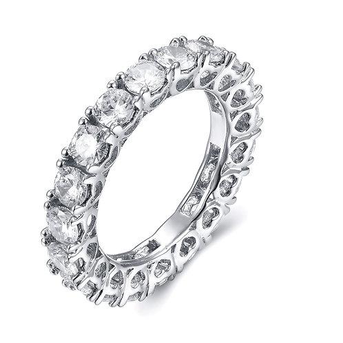 925純銀鍍18K白金高級仿鑽戒指