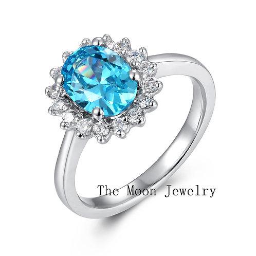 925純銀鍍18K白金高級仿鑽海藍寶石戒指