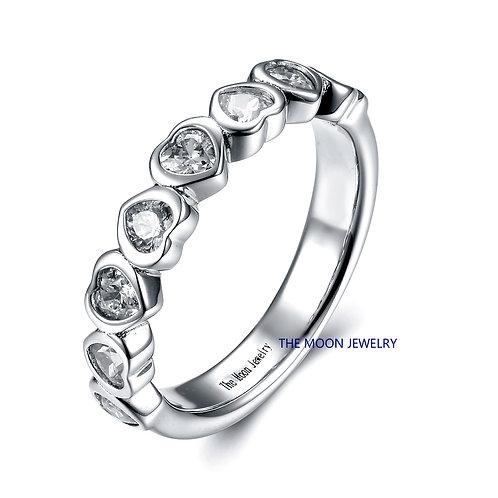 925純銀鍍18K白金高級仿鑽包邊鑲混身戒指