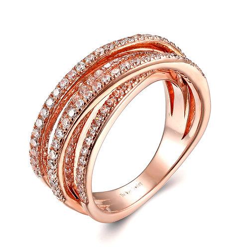 925純銀鍍18K玫瑰金高級仿鑽戒指