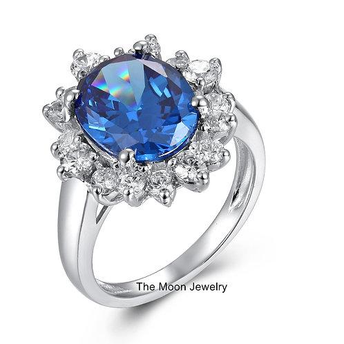 925純銀鍍18K白金高級仿鑽藍寶石戒指