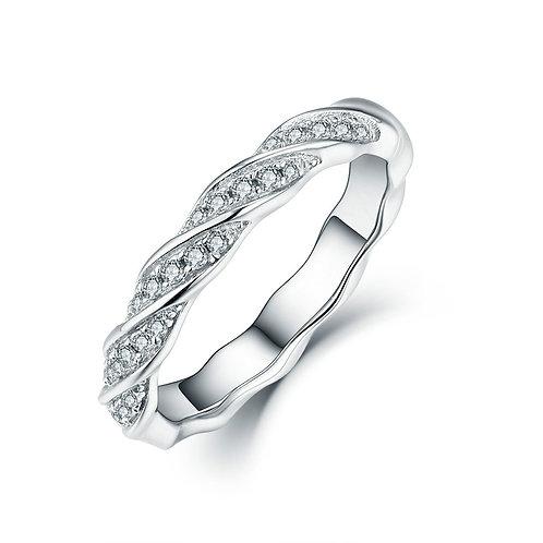 925純銀鍍18K金高級仿鑽紐紋款戒指