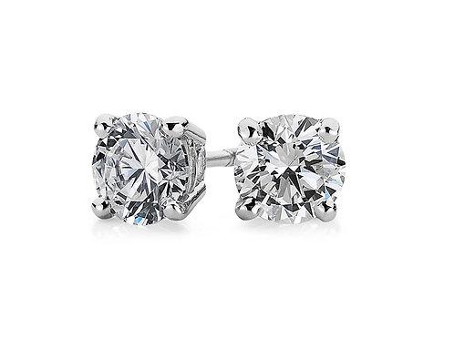925純銀鍍白金高級仿鑽4爪耳環