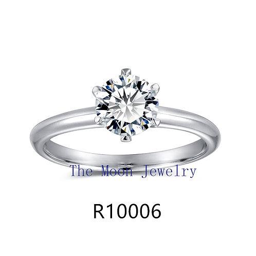 925純銀鍍18K白金高級仿鑽6爪戒指