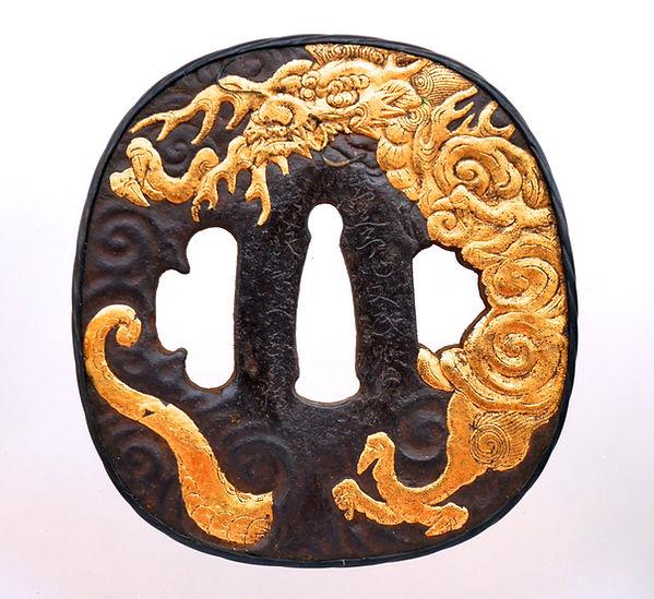 肥後鐔, Higo tsuba, 知足亭作文武暇日, dragon