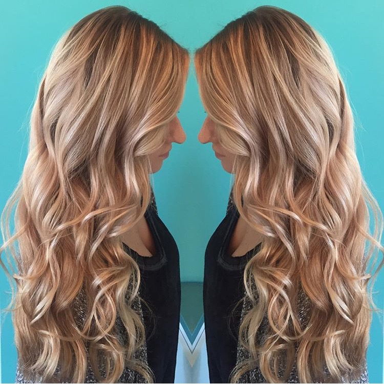 Blonde beach waves on long hair