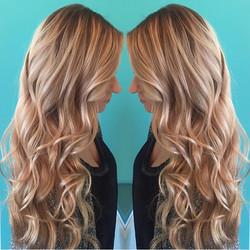Blonde beach waves on long hair