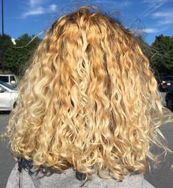 Full highlight and cut curly hair