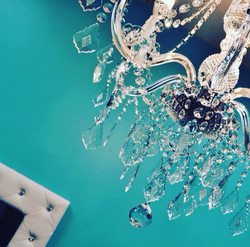 Chandelier and mirror