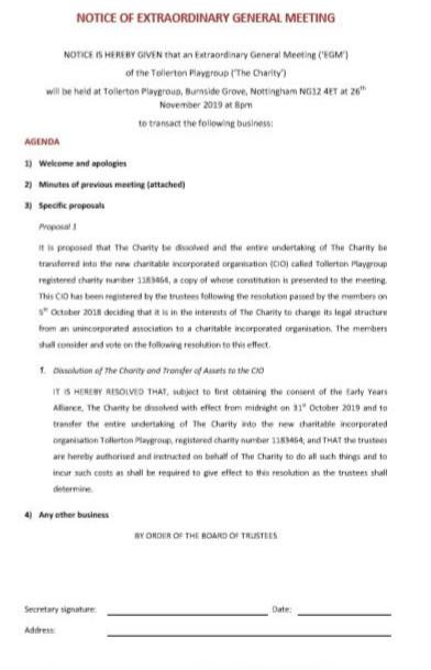 NOTICE OF EXTRAORDINARY GENERAL MEETING 26TH NOV 2019
