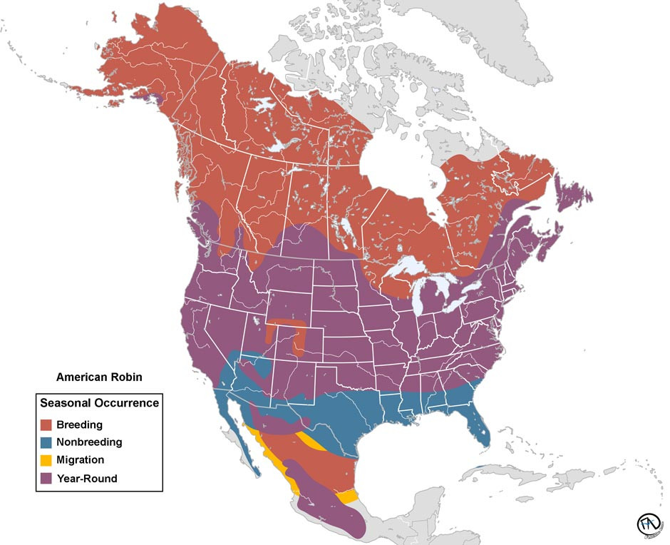 Range Map of the American Robin