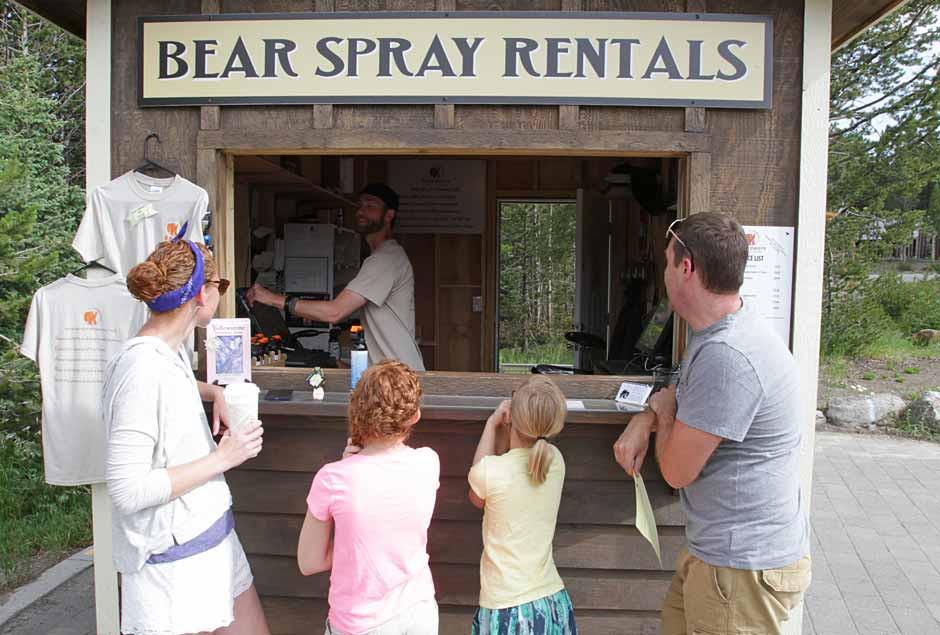 Bear spray rental booth in Yellowstone. Photo: NPS/Jim Peaco