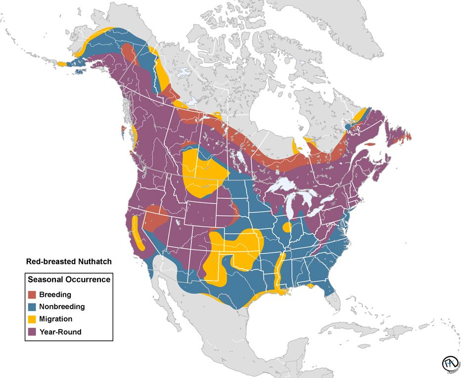 Red-breasted Nuthatch Range Map