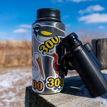 Birding Stickers on Water Bottle