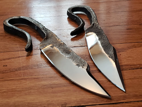 Blacksmith Knives with a sharpened clip