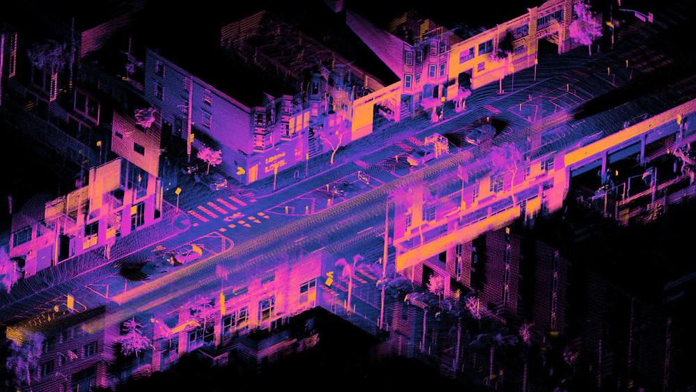 Eine detaillierte LiDAR-Punktwolke. Vermessung mit Laserscan und Photogrammetrie Drohne