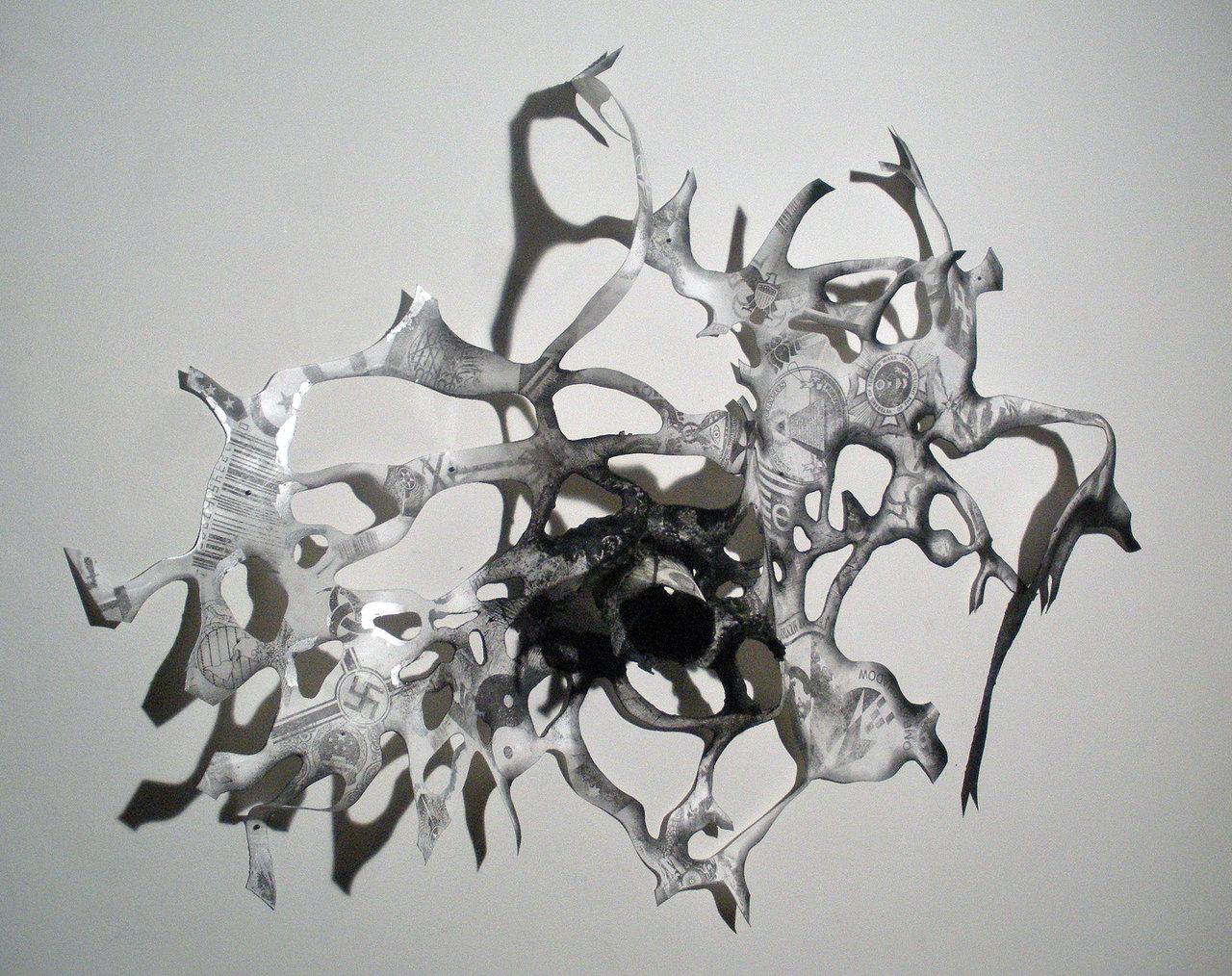 Carol+Ware+-+Tree+of+Knowledge-Stasis+2010+encaustic,+graphite,+transfer,+steel+and+paper+36inx48inx