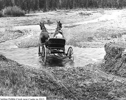 Fording Pebble Creek near Cooke City in 1913