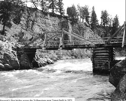 Baronette's first bridge across the Yellowstone near Tower, built in 1871