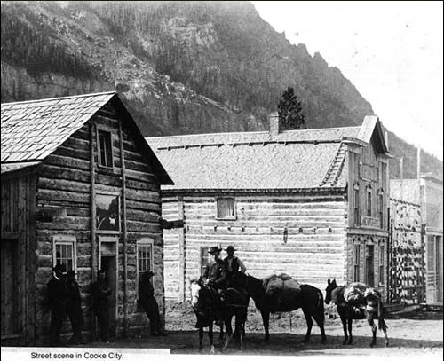 1900's - Cooke City street scene nestled under Republic Mountain
