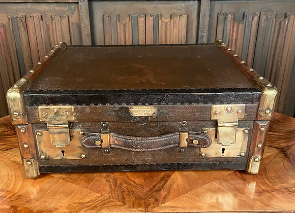 Canvas Covered Wooden Trunk with Oak Supports