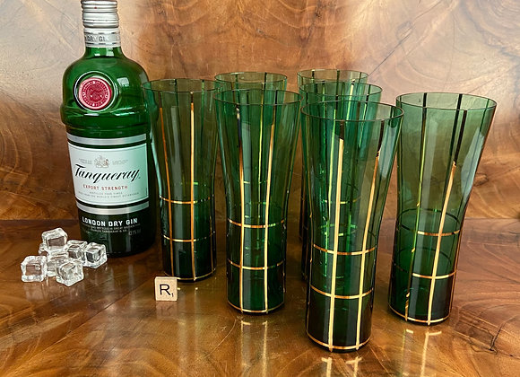 Mid 20th Century Green and Gold Tumblers