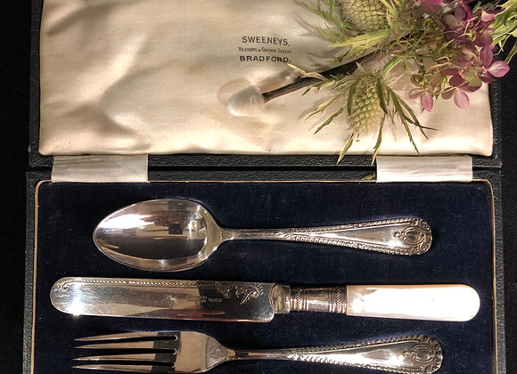 Edwardian Silver Plated Christening Set