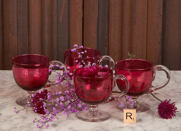 Set of Four Victorian Cranberry Glass Custard Cups